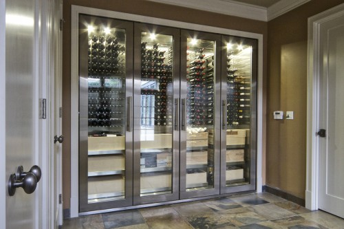 cave vin moderne modern stainless wine cellar cabinet architecture. Black Bedroom Furniture Sets. Home Design Ideas
