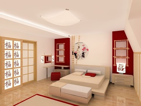 Chambre asiatique asian style bedroom architecture for Bureau style asiatique