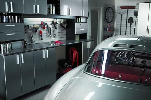 Garage contemporain garages architecture - Simple garage storage cabinets in cool structured design ...