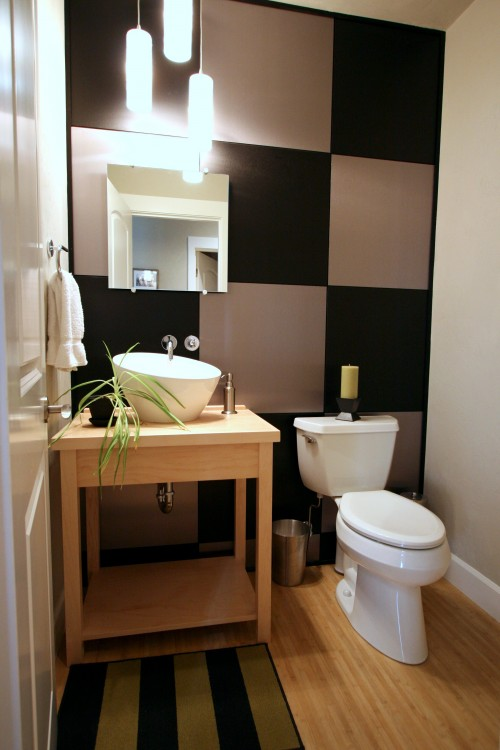 toilettes moderne urban modern powder room with custom metal laminat architecture. Black Bedroom Furniture Sets. Home Design Ideas